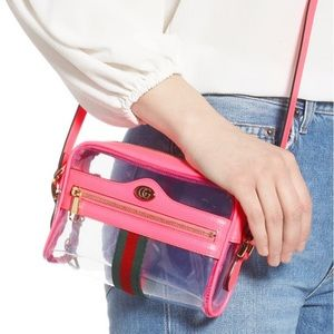 Gucci Ophidia Transparent Crossbody Bag Hot Pink